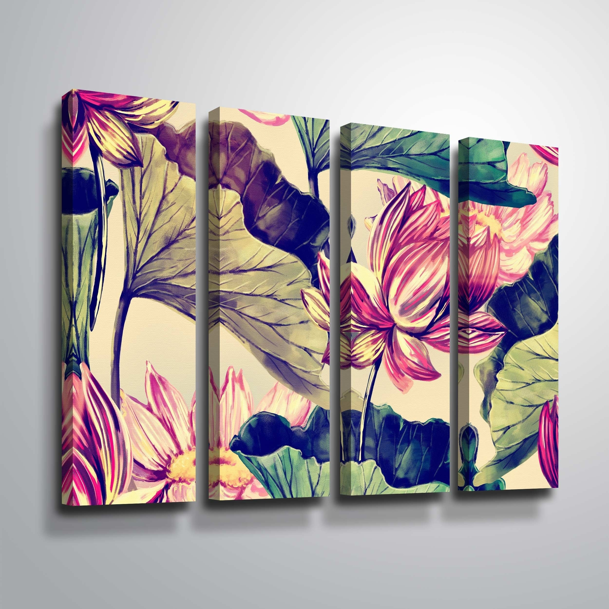 Artwall Water Lily 4 Piece Gallery Wrapped Canvas Set Overstock 25491441