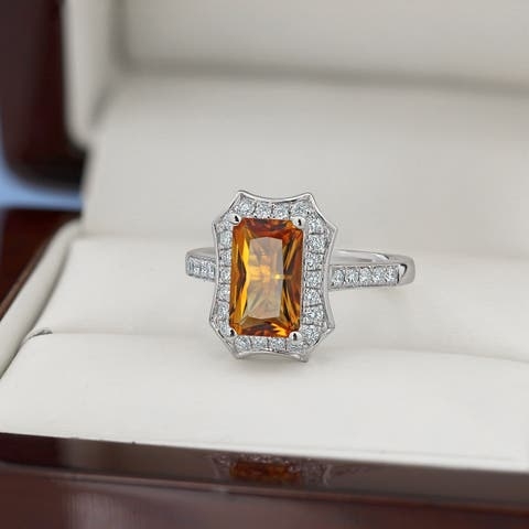Auriya 1 3/4ct Fancy Emerald-cut Citrine and 3/8ctw Halo Diamond Engagement Ring 14kt Gold