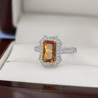 14k Gold Fancy 1 3/4ct Emerald-Cut Citrine and 3/8ct TDW Diamond Halo Engagement Ring by Auriya