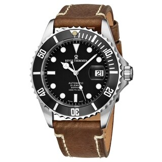 Revue Thommen Men's 17571.2537 'Diver' Black Dial Brown Suede Leather Strap Swiss Automatic Watch