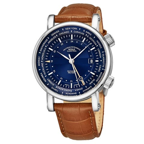 Muhle-Glashutte Men's M1-33-82-LB 'Teutonia II Weltzeit' Blue Dial Brown Leather Strap GMT World timer Automatic Watch