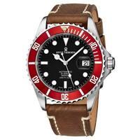 Revue Thommen Men's 17571.2536 'Diver' Black Dial Brown Suede Leather Strap Swiss Automatic Watch