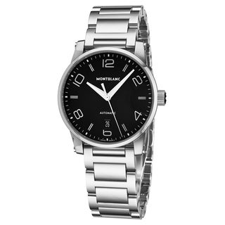 Mont Blanc Men's 110339 'Timewalker' Black Dial Stainless Steel Bracelet Swiss Automatic Watch