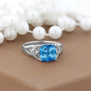 Auriya Modern 2 3 8ct Cushion Cut Swiss Blue Topaz And Diamond Engagement Ring 1 6ctw 14k Gold