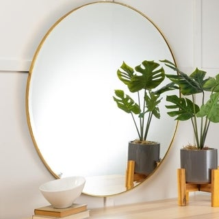 Link to Carson Carrington Carrowdore Antique Gold Accent Bathroom Wall Mirror Similar Items in Mirrors