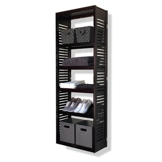 John Louis Home 12in deep Solid Wood Premier Woodcrest Storage Tower Espresso