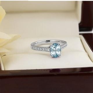 Auriya 3 4ct Fancy Oval Aquamarine And Diamond Engagement Ring 1 4ctw 14k Gold