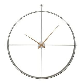 Ellie Oversized Silver Modern Wall Clock
