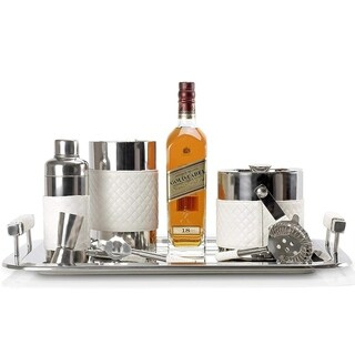 Miko Stainless Steel Cocktail Shaker Set - 8 Piece Bar Set - White Leather