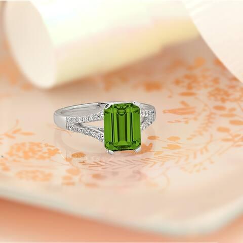 Auriya 2 1/8ct Fancy Emerald-cut Peridot and 1/4ctw Diamond Engagement Ring 14k Gold