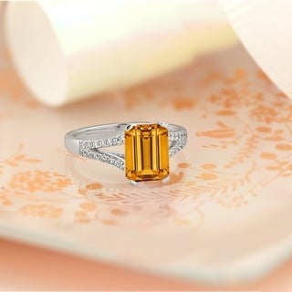 14k Gold Fancy 2 1/8ct Emerald-Cut Citrine and 1/4ct TDW Diamond Engagement Ring by Auriya