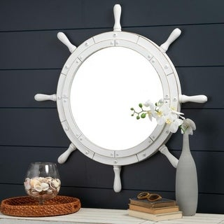 Santara Round White Wall Mirror