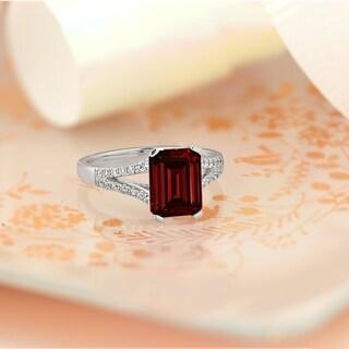 Auriya 2 1 8ct Fancy Emerald Cut Garnet Gemstone And Diamond Engagement Ring 1 4ctw 14k Gold