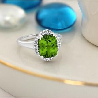 Auriya 4ct Cushion Cut Peridot Halo Diamond Engagement Ring 1 8ctw 14k Gold
