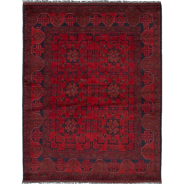 ECARPETGALLERY Hand-knotted Finest Khal Mohammadi Red Wool Rug - 4'9 x 6'3