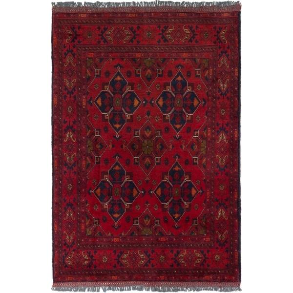 ECARPETGALLERY Hand-knotted Finest Khal Mohammadi Dark Red Wool Rug - 3'2 x 4'9