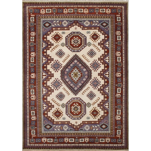 ECARPETGALLERY Hand-knotted Royal Kazak Copper, Cream Wool Rug - 9'9 x 13'11