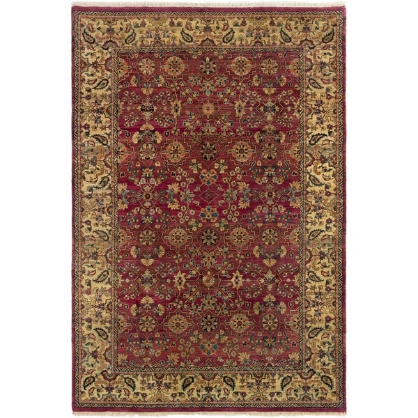 ECARPETGALLERY Hand-knotted Sultanabad Dark Red Wool Rug - 6'0 x 8'11