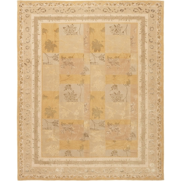 ECARPETGALLERY Hand-knotted Silk Touch Khaki Silk, Wool Rug - 7'10 x 9'8