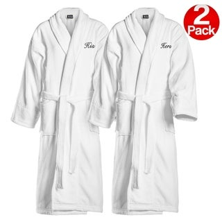 Kaufman -His and Hers Embroidered  White Velour Shawl Collar Bathrobes with Monogram. 2 Set. BLACK