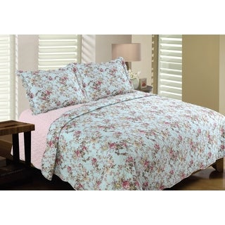 Bedford Lane Collection Tea Stained Rose Printed Quilt Set