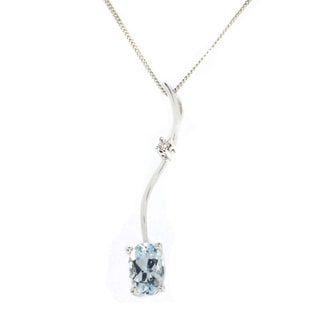 Gems en Vogue 14K White Gold Oval Aquamarine & Diamond Pendant
