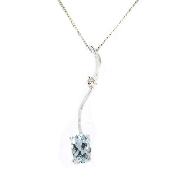 Gems en Vogue 14K White Gold Oval Aquamarine & Diamond Pendant. Opens flyout.