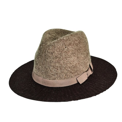 Brown Color Block Knit Fedora with Grosgrain Bow Trim by San Diego Hat Company