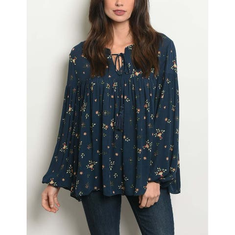 JED Women's Floral Navy Long Sleeve Tunic Top