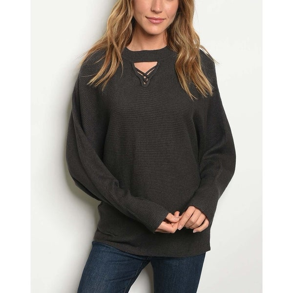 7df82914167 JED Women  x27 s Ribbed Knit Batwing Mock Neck Sweater. Click to Zoom
