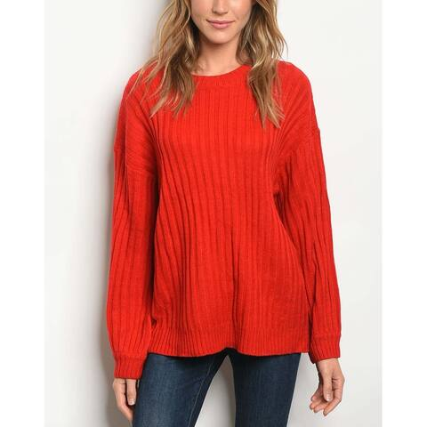 JED Women's Chunky Ribbed Knit Pull-Over Sweater