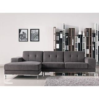 Divani Casa Forli Modern Grey Fabric Sectional Sofa with Left Facing Chaise
