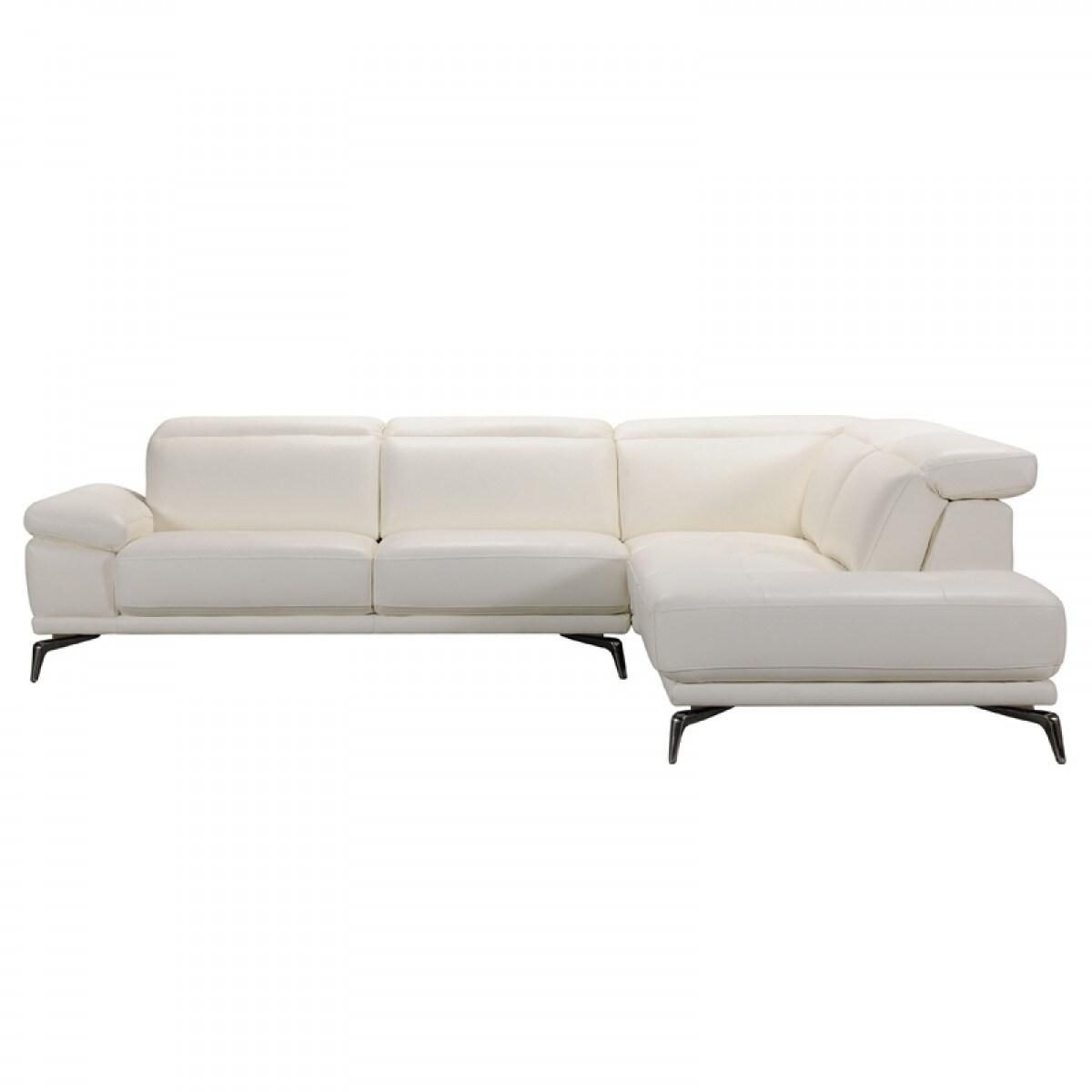 Admirable Divani Casa Tundra Modern White Leather Sectional Sofa Evergreenethics Interior Chair Design Evergreenethicsorg