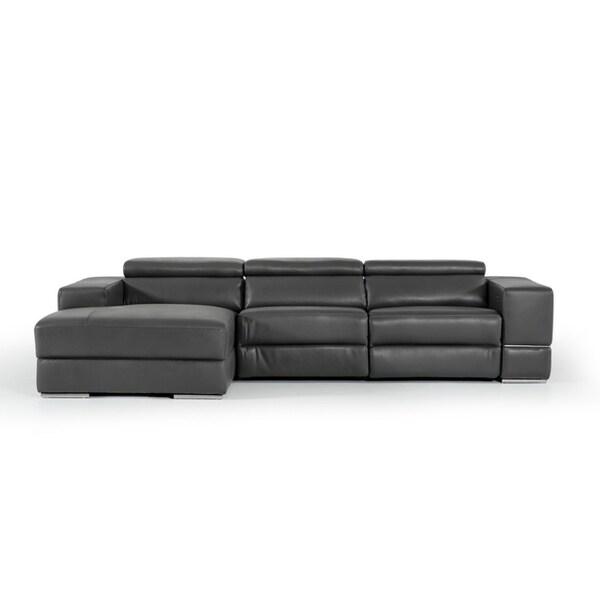 Divani Casa Hilgard Modern Dark Grey Leather Sectional W Recliner