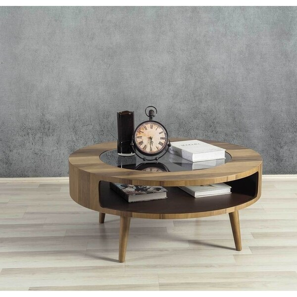 Moon Brown Walnut Wood/Glass Round Coffee Table