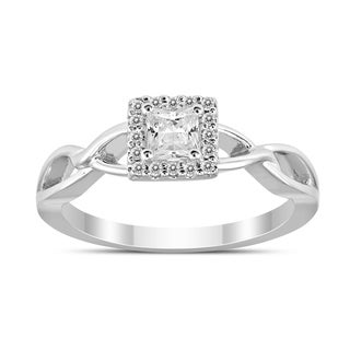 3/8 Carat TW Diamond Princess Diamond Halo Engagement Ring in 14K White Gold