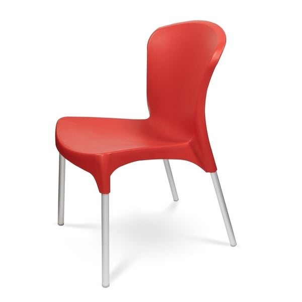 (Set of 4) - Stella Stackable Dining Chair - Red