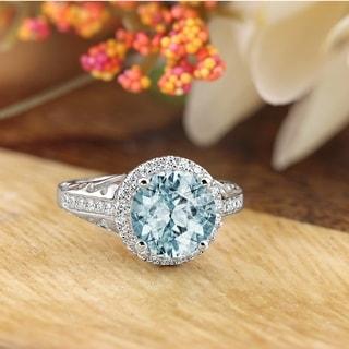 Auriya 1 1 2ct Fancy Round Aquamarine And Halo Diamond Engagement Ring 1 5ctw 14k Gold