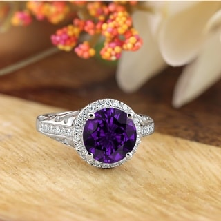 Auriya 1 1 2ct Fancy Round Purple Amethyst And Halo Diamond Engagement Ring 1 5ctw 14k Gold