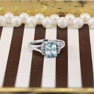 Auriya 1ct Modern Cushion Cut Aquamarine And Diamond Engagement Ring 1 4ctw 14k Gold