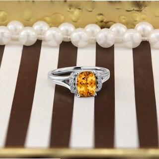 Auriya 1 3 4ct Modern Cushion Cut Citrine And Diamond Engagement Ring 1 4ctw 14k Gold
