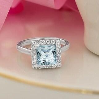 Auriya 1ct Princess Cut Aquamarine Halo Diamond Engagement Ring 1 3ctw 14k Gold