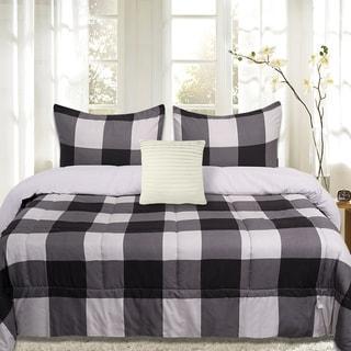 Sweet Home Collection 4 Piece Buffalo Check Comforter Set (Black and Grey)