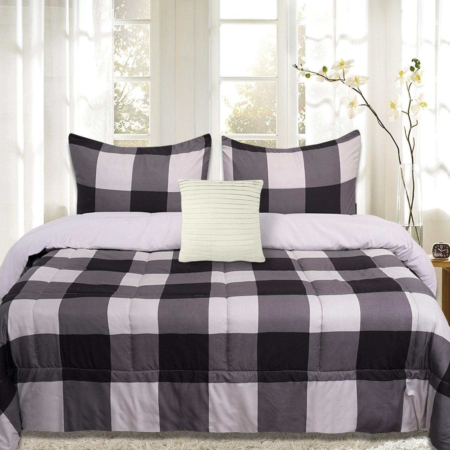 Sweet Home Collection 4 Piece Buffalo Check Comforter Set Black And Grey On Sale Overstock 25493441 Full Full Queen