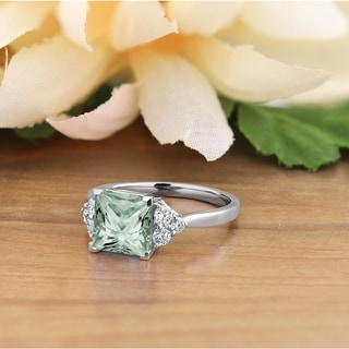 Auriya 1 7 8ct Princess Cut Green Amethyst And Diamond Engagement Ring 1 3ctw 14k Gold