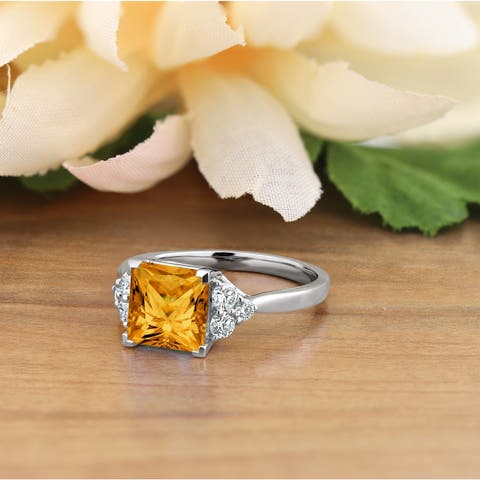 Auriya Fancy 3 1/10ct Princess-Cut Citrine and 1/3ctw Diamond Engagement Ring 14kt Gold