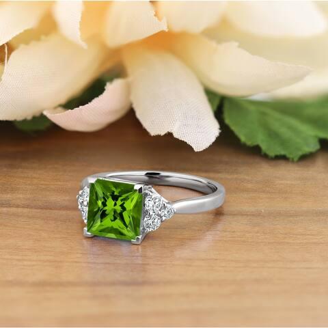 Auriya 3 1/10ct Fancy Princess Cut Green Peridot and 1/3ctw Diamond Engagement Ring 14k Gold