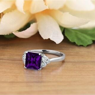 Auriya 1 7 8ct Princess Cut Purple Amethyst And Diamond Engagement Ring 1 3ctw 14k Gold