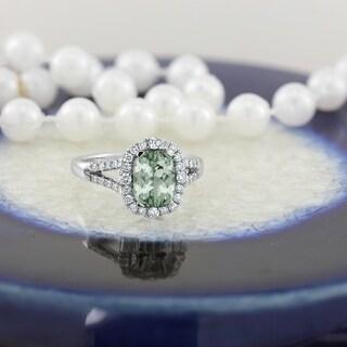 Auriya 1ct Cushion Cut Green Amethyst Halo Diamond Engagement Ring 3 8cttw 14k Gold