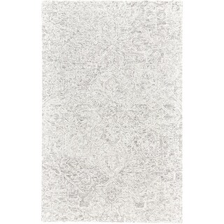Grand Bazaar Veran Light Gray/Ivory Ornamental Tufted Wool Area Rug